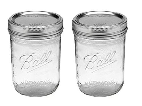 16 Ounce Jelly Jar (Ball Jar with Lid and Band - Pick Your Size and Color (Clear, Wide Mouth Pint - 16 oz.) Pack Of 2)