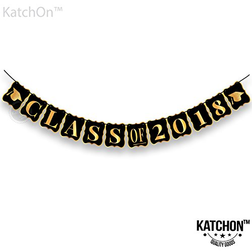 KatchOn, Class of 2018 Graduation Banner - No-DIY Required, Classy Graduation Decorations Sign for College Grad Party and High School Graduation Party Supplies 2018, Gold and Black,Large,8 x 6.5 Inch