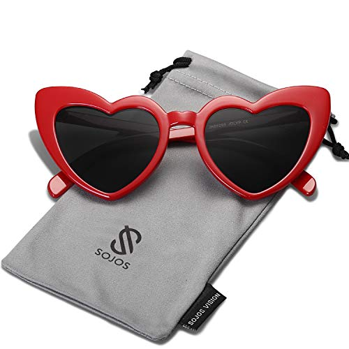 Medium Red Heart - SOJOS Heart Shaped Sunglasses Clout Goggle Vintage Cat Eye Mod Style Retro Glasses Kurt Cobain SJ2062 with Red Frame/Grey Lens
