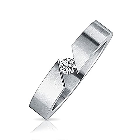 Stainless Steel .1ct Tension Set Unisex Ring