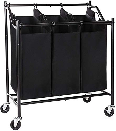SONGMICS 3-Bag Rolling Laundry Sorter Cart Heavy-Duty Sorting Hamper W' Removable Bags & Brake Casters Black URLS70H (Laundry Bin Sorter)