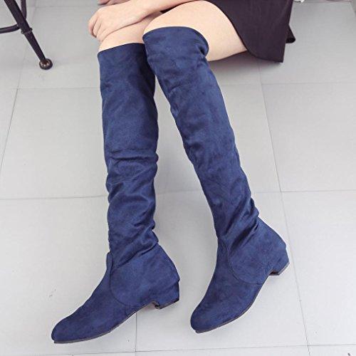 Bottes Bottes CN40 Noir Plat GongzhuMM Longues Daim Chaussures Bottes Daim Femmes Cuissardes Haute Chaussures Hiver Automne EU39 Femmes En rUPRarYgwq