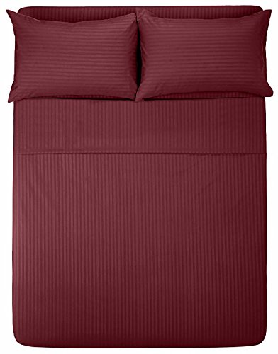 The Great American Store - 15 inch Extra Deep Pocket Bed Sheet Set - 5 Piece Split Cal King Size Stripe Burgundy - 1800 Series Brushed Microfiber - Wrinkle, Fade, Stain Resistant ()