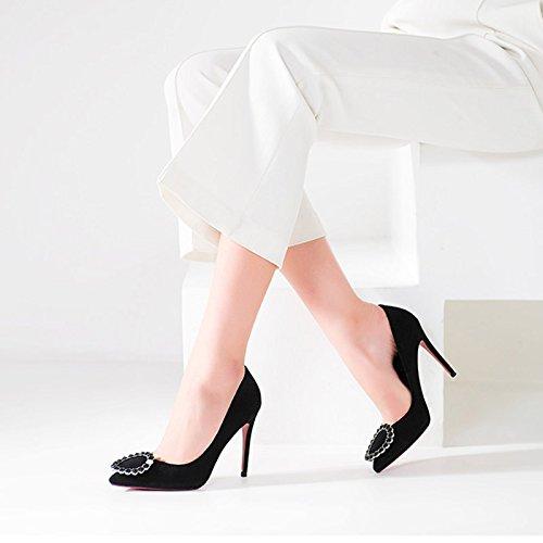 Scarpe Da Donna Primaverili Ed Estive Jianxin Da Donna Con Semplice Pelle E Scarpe A Tacco Alto A Punta. Nero