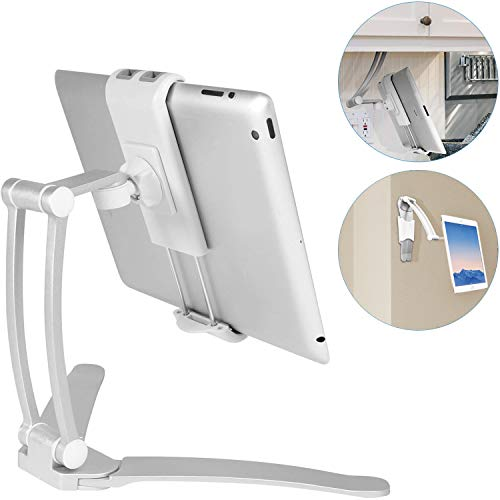 Macally 2-in-1 Kitchen Tablet Stand & iPad Wall Mount / Under Cabinet Holder- Perfect for Recipe Reading on Countertop or Using on Office Desktop- Fits iPad iPhone Samsung Tab Devices up to 7.5