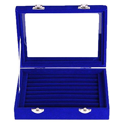 (JIEPING Women Velvet Glass Jewelry Box Display Storage Case Holder Ring Earrings Organizer Stand (Royal Blue))