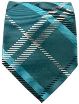 The Tie Bar 100% Woven Silk Teal Gent Plaid Tie