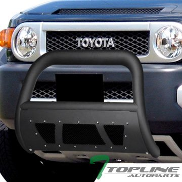 Topline Autopart Matte Black Studded Mesh Bull Bar Brush Push Front Bumper Grill Grille Guard With Skid Plate For 07-14 Toyota FJ - Cruiser Plates Fj Skid Toyota