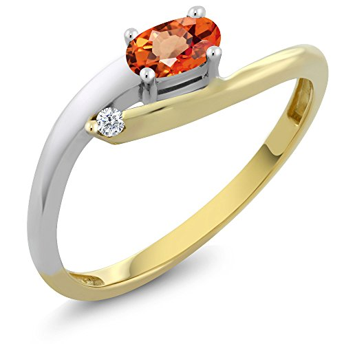 Gem Stone King 18K 2 Tone Gold 0.27 Ct Oval Orange Sapphire with Diamond Accent Ring (Size 7)