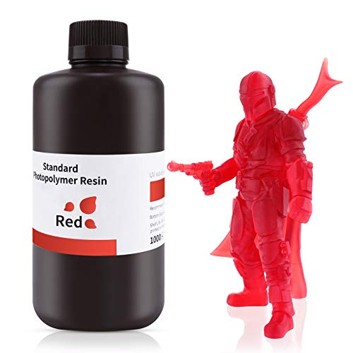 ELEGOO 3-D Printer Rapid Resin, 405nm LCD UV-Curing Resin Standard Photopolymer Resin for LCD 3-D Printing Clear Red 1000G