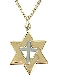 """<span class=""""a-offscreen"""">[Sponsored]</span>14K Gold over Sterling Silver Two-Tone Star of David Cross Pendant, 5/8 Inch"""