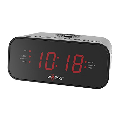 """Axess CKRD3803 1.2"""" Red LED Display Clock with Digital AM/"""