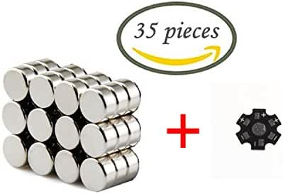 Linlinzz 8x3mm Round Cylinder Magnets Deep DIY personalized Multi-Use for Fridge door Whiteboard Magnetic map Magnetic Screen Door Bulletin boards Refrigerators 35 Pieces
