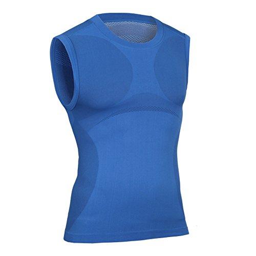 Prettywell Men's Body Shaper Quick Dry Corset Sports Vest MA03 Blue-XL