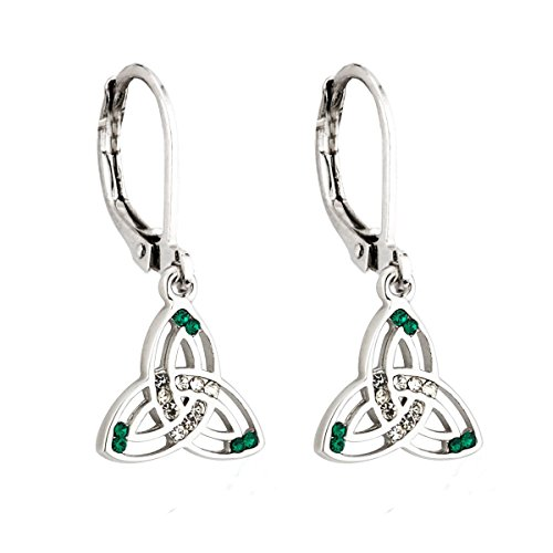 (Tara Trinity Knot Earrings Rhodium Plated & Crystal Dangles Irish)
