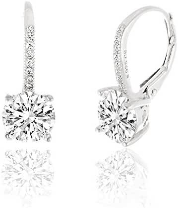 SPECIAL OFFER Sterling Silver Round Cubic Zirconia Drop Leverback Earring Bridal Bridesmaids Gift