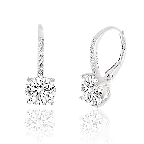 SPECIAL OFFER 18K White Gold Over Sterling Silver Round Cubic Zirconia Drop Leverback Earrings