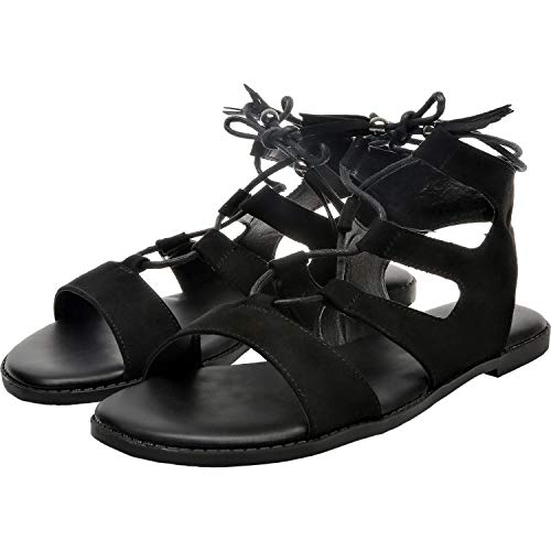Women's Wide Width Flat Sandals - Gladiator Lace up Open Toe Suede Summer Shoes.(181257,Black,13)