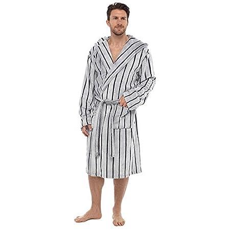 22a0a6df05 Wolf   Harte Men s Sheared Stripe Embossed Coral Fleece Hooded Bath Robe