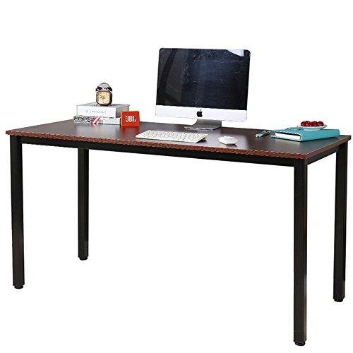 "Dland Luxurious Computer Desk 55"" Large Size Home Office Decent PC Laptop Desk Studying Writing Table Modern Workstation, Walnut"