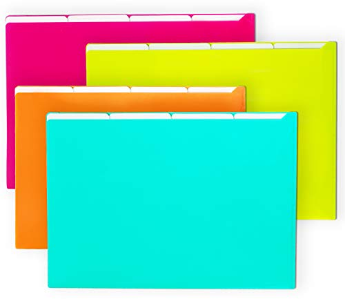 - Filly Wink A4 Plastic Project Folders File Sleeve Translucent Paper Jacket 5 Pockets,4 Pack,Assorted Colors(Teal Blue,Lime Green,Orange,Fuchsia Pink)