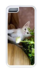 iPhone 5C Case, Personalized Custom Rubber TPU White Case for iphone 5C - Hide Cat Cover