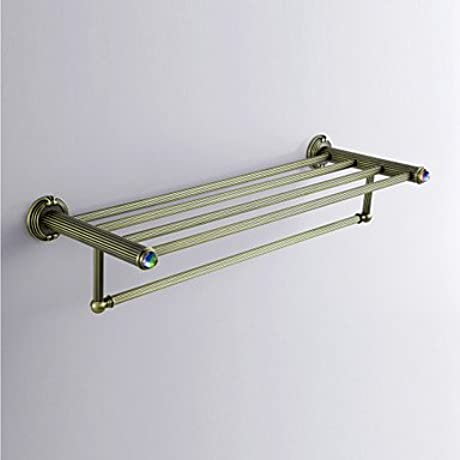 Antique Style Antique Colorful Crystal Decorated Bronze Finish Brass Towel Rack