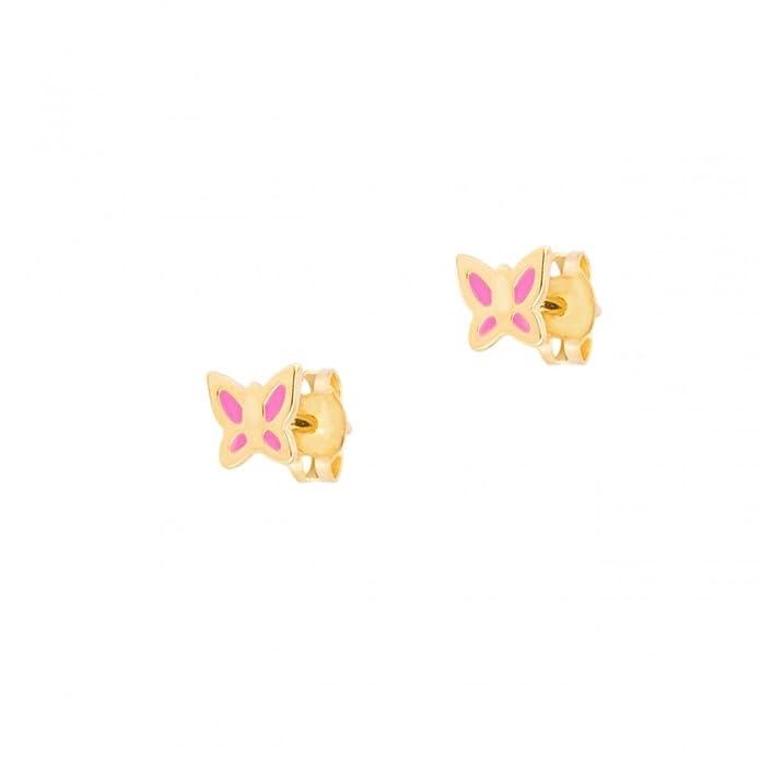 ASS 333 Gold Kinderschmuck Kinderohrringe Ohrstecker Schmetterling rosa  lackiert: Amazon.de: Schmuck