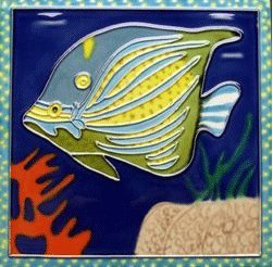 Blue Fish Decorative Ceramic Wall Art Tile 4x4