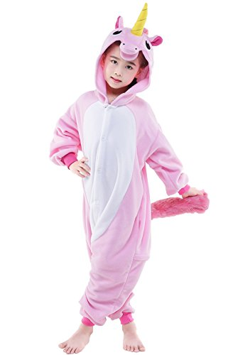 NEWCOSPLAY Children Unicorn Fleece Pajamas Unisex Cartoon Costume (125, Pegasus horse pink)
