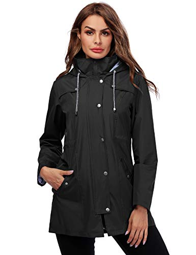 Doreyi Hooded Raincoat Women Patchwork Spring Jacket Black S (Best Spring Jackets Womens)
