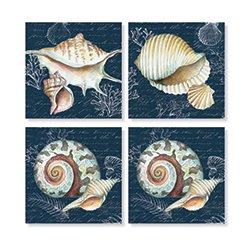 Carson Navy Shell Square House Coaster Set