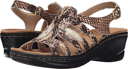 CLARKS Women's Lexi Marigold Q Beige Synthetic Snake Sandal 12 M US
