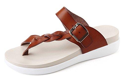 Kunsto Women's Platform Braid Flip Flop Woven Thong Sandal Flats
