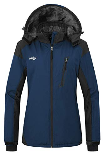 Wantdo Women's Hooded Fleece Jacket Mountaineering Softshell Hiking Coat Blue M