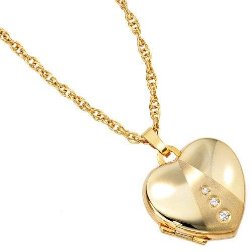 Bijoux Médaillon coeur de de 333 or jaune givré avec cubique zircone hauteur de environ 19,1 mm argeur 18,1 mmnviron