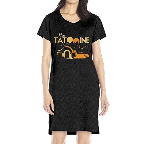 Brandy Melville Halloween Costumes (Hoeless Visit Tatooine Women's Short Sleeve Casual T-Shirt Dress SBlack)