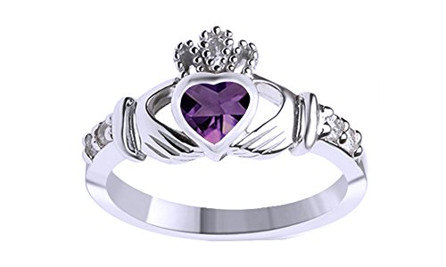 Heart Cut Simulated Amethyst Claddagh Ring in 14k White Gold Over Sterling Silver