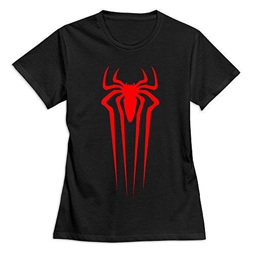 Spiderman Front Logo Round Neck T-Shirt For Female Black L
