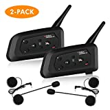 [2 PACK]Vnetphone V4 Bluetooth Motorcycle Helmet Headset, Wireless Intercom Interphone System for 4 Riders Talking at The Same Time丨Waterproof IP65丨Talking Range 1500m丨GPS丨Hands-free丨Stereo Music