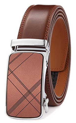 Men's Belt Ratchet Dress Belt with Automatic Buckle Brown/Black-Trim to Fit-35mm wide-300-110-BROWN