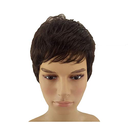 Men Women Short Cut Wig Natural Black Straight Synthetic Hair Wigs Heat Resistant 2 Colors Available,#2,8inches -