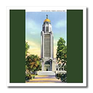 ht_170277_3 BLN Vintage US Cities and States Postcards - State Capital Tower Lincoln Nebraska with Antique Cars - Iron on Heat Transfers - 10x10 Iron on Heat Transfer for White Material
