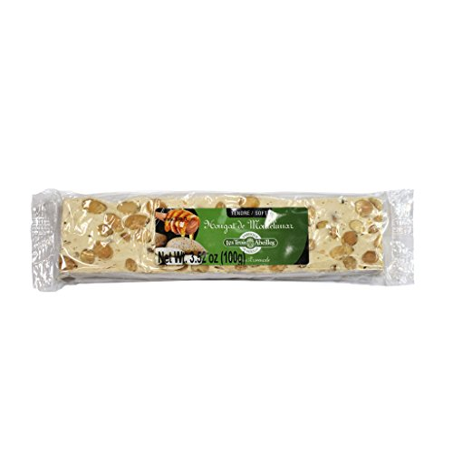Soft White Nougat Candy Bar with Lavender Honey and Almonds from Montelimar | Handcrafted in France by Les Trois Abeilles | All Natural, Gluten-Free | 100 Grams (3.52 Ounce)