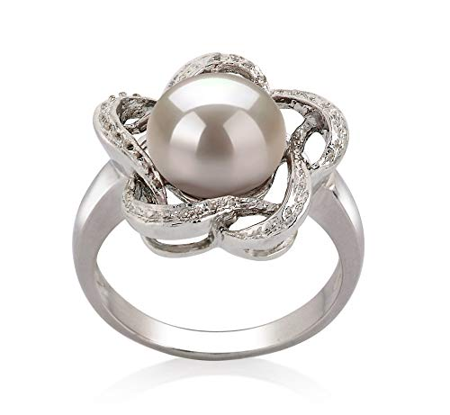 Fiona White 9-10mm AA Quality Freshwater 925 Sterling Silver Cultured Pearl Ring For Women - Size-7