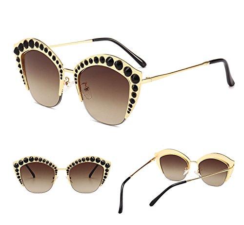 Té hombres Lip tamaño sol con de de Mujeres Gafas de Gafas ATNKE HD Decoration Moda armadura reflectante de Shape Lente protección gran Diamond UV400 PC para la zywqAdFc