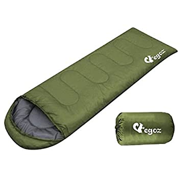 Peanut By EGOZ Sleeping Bag Easy to carry Warm Adult Outdoor Sports Camping Hiking With Carry Bag Lightweight (Army Green)
