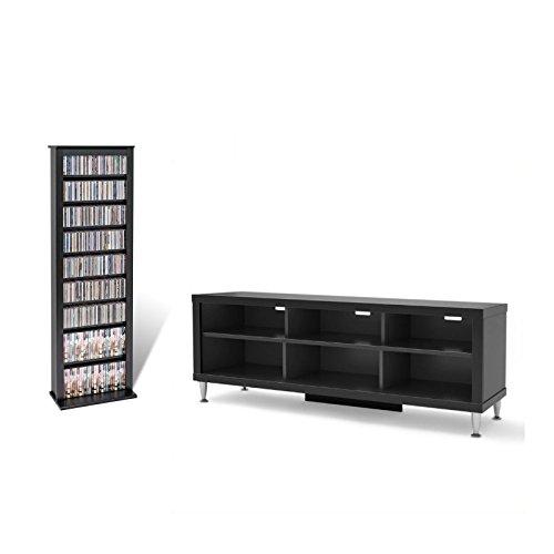 (Prepac Floor Media Storage 2 Piece Entertainment Center in Black)