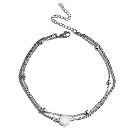 Eluckday Beach Anklet Bracelet Bohemian Layered Chain Anklet Hamsa Hand Chevron Fishbone Faux Opal Adjustable Charm Anklet