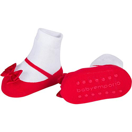 Baby & Toddler Girl Mary Jane Socks with Shoe-Look-Anti-slip Soles-Cotton -1 Pair -